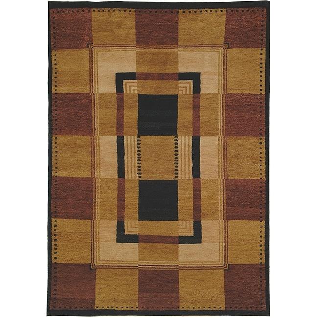 Safavieh Hand-knotted Selaro Grids Brown/ Black Wool Rug (3' x 5')