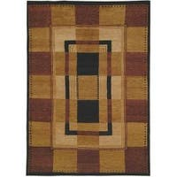 Safavieh Hand-knotted Selaro Grids Brown/ Black Wool Rug (4' x 6') - 4' x 6'