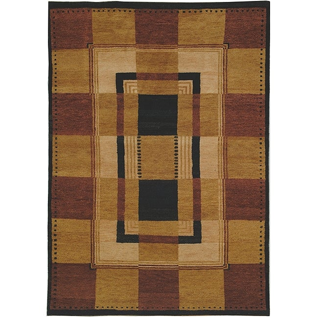 Safavieh Hand-knotted Selaro Grids Brown/ Black Wool Rug - 6' x 9'