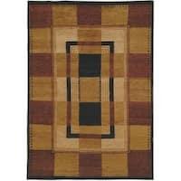 Safavieh Hand-knotted Selaro Grids Brown/ Black Wool Rug - 6' x 9'