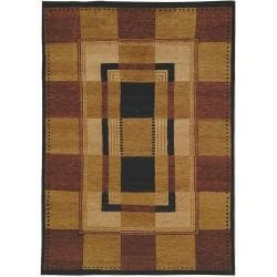 Safavieh Hand-knotted Selaro Grids Brown/ Black Wool Rug (8' x 10')