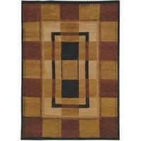 Safavieh Hand-knotted Selaro Grids Brown/ Black Wool Rug - 8' x 10'