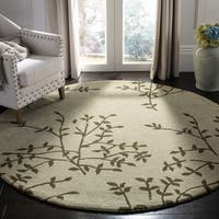 Safavieh Handmade Soho Moments Green New Zealand Wool Rug - 6' x 6' Round
