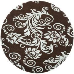 Safavieh Handmade New Zealand Wool Paris Brown/ Blue Rug (6' Round)