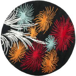Safavieh Handmade New Zealand Wool Jubilee Black Rug (6' Round)