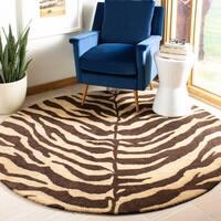 Safavieh Handmade Zebra Beige Hand-spun Wool Rug - 8' x 8' Round