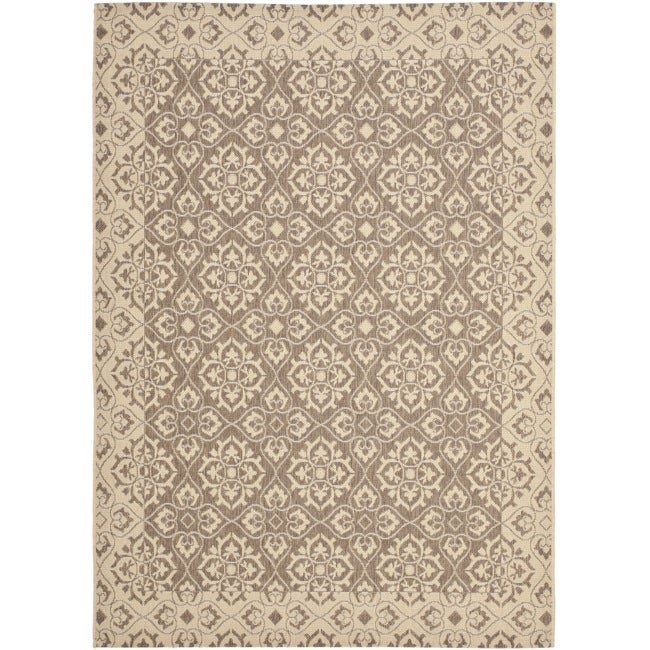 Safavieh Courtyard Elegance Brown/ Cream Indoor/ Outdoor Rug - 8' x 11'2