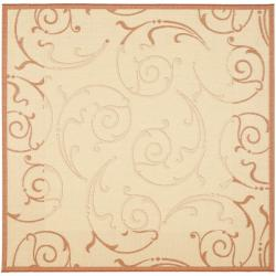 Safavieh Oasis Scrollwork Natural/ Terracotta Indoor/ Outdoor Rug (6'7 Square)