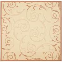 "Safavieh Oasis Scrollwork Natural/ Terracotta Indoor/ Outdoor Rug - 6'7"" x 6'7"" square"
