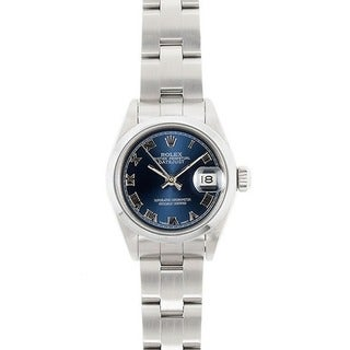 Pre-owned Rolex Women's Model 69160 Datejust 26mm Stainless Steel Blue Roman Dial Watch