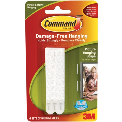 3M Command Narrow White Picture Hanging Strips (Set of 4)