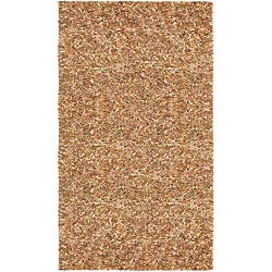 "Hand Tied Pelle Tan Leather Shag Rug (2' 6"" x 4' 2"")"