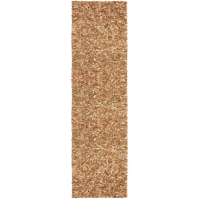 "Hand Tied Pelle Tan Leather Shag Rug (2' 6"" x 12')"
