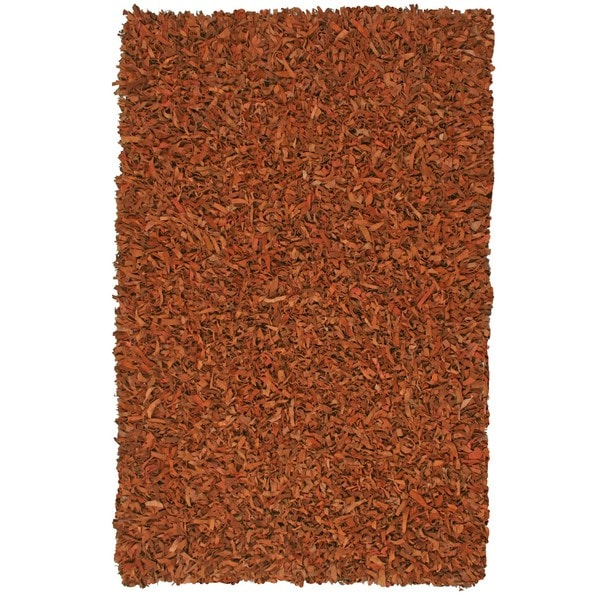 Hand Tied Pelle Copper Leather Shag Rug (8' x 10') - 8' x 10'