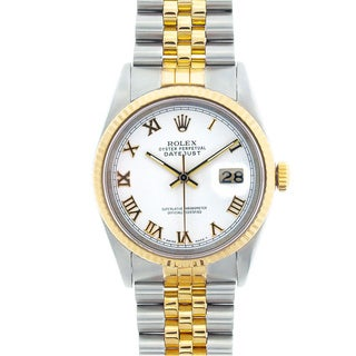 Pre-owned Rolex Men's Datejust Two-tone White Roman Dial Watch