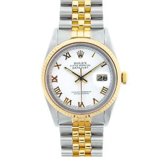 Pre-owned Rolex Men's Datejust Two-tone White Roman Dial Watch|https://ak1.ostkcdn.com/images/products/6378677/P13993557.jpg?impolicy=medium