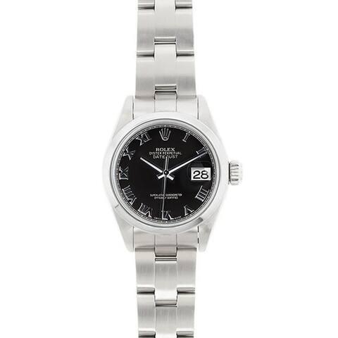 Pre-owned Rolex Women's Model 69160 Datejust 26mm Stainless Steel Black Roman Dial Watch