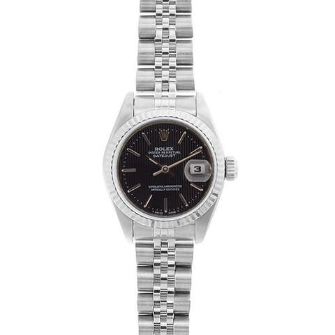 ca42fc02aad Pre-owned Rolex Women s Model 69174 Datejust 26mm Black Tapestry Dial Watch