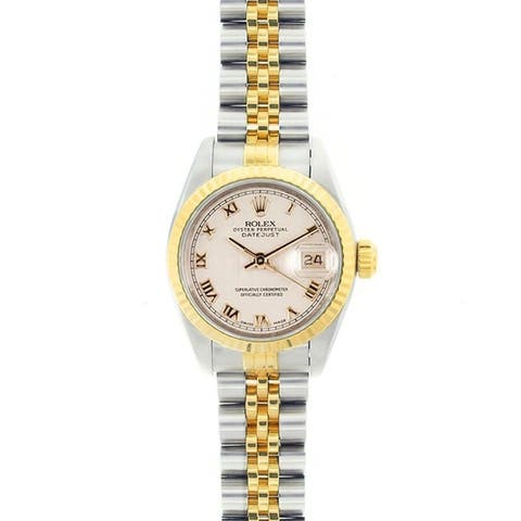 Pre-owned Rolex Women's Datejust Two-tone Off-white Roman Dial Watch