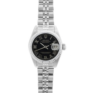 Pre-owned Rolex Women's Datejust White Gold Black Roman Dial Watch