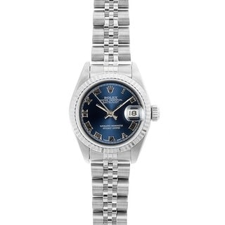 Pre-owned Rolex Women's Model 69174 Datejust 26mm Blue Roman Dial Watch