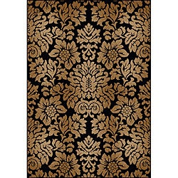 Admire Home Living Amalfi Black/Beige Damask Area Rug (5'5 x 7'7)