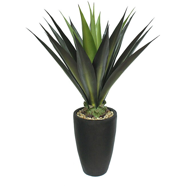 Laura Ashley 44 Inch Realistic Silk Giant Aloe Plant with Contemporary Planter