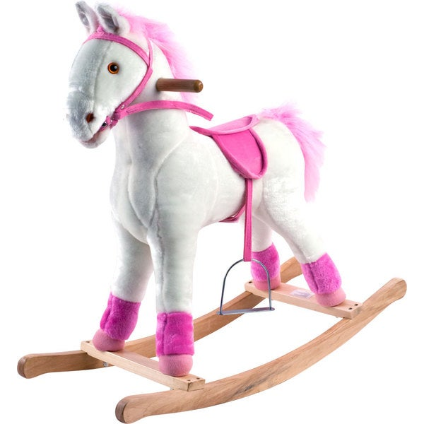 Happy Trails White and Pink Plush Rocking Pony