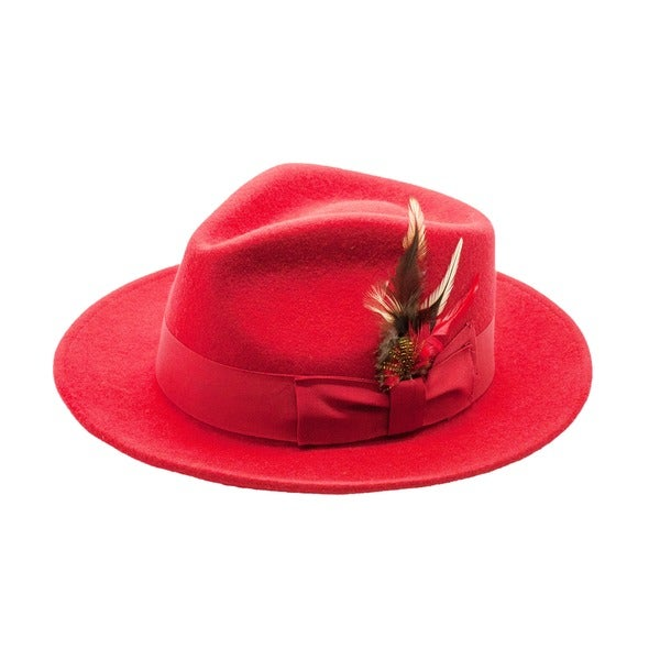Shop Ferrecci Men s Red Wool Fedora Hat - Free Shipping On Orders ... 89475827aee