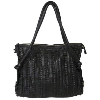 Amerileather 'Echo' Top-grain Lambskin Leather and Canvas Shoulder Bag