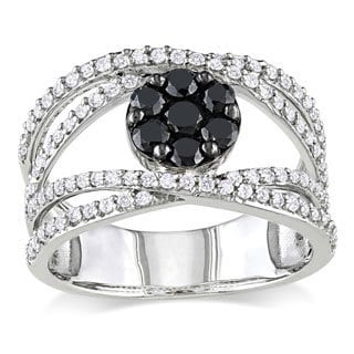 Miadora Sterling Silver 1ct TDW Black and White Diamond Accent Ring