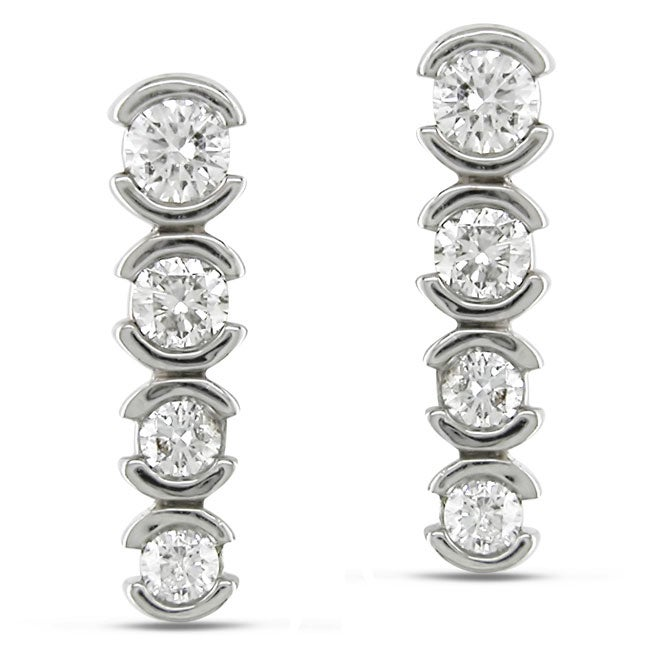 Miadora 14k White Gold 1/2ct TDW Diamond Journey Earrings (H-I, I1-I2)