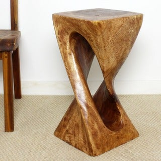 Handmade 12 x 23 Light Teak Oiled Single Twist Vine Stool (Thailand)