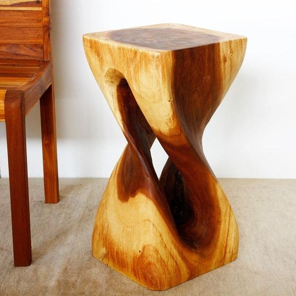 Hand-carved 12 x 23 Single Twist Vine High Wood Stool (Thailand)