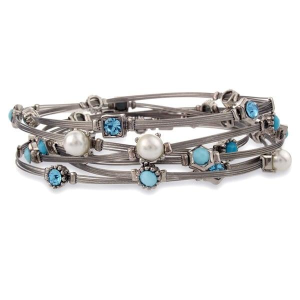 Silvertone Blue Multi-stone Wire Bracelet Set