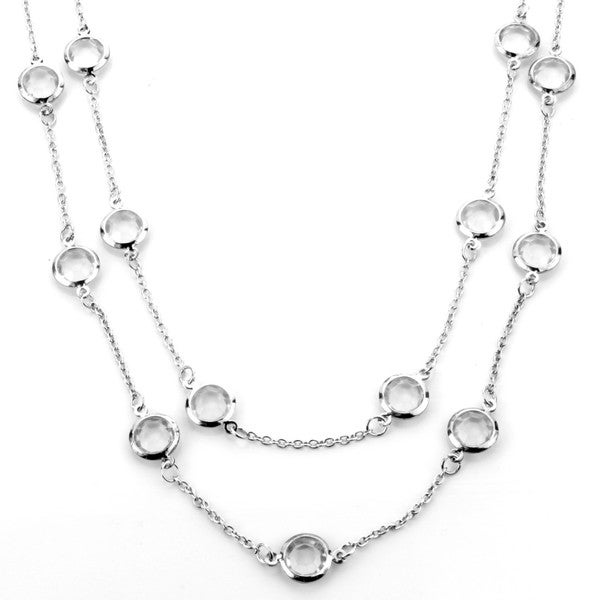 West Coast Jewelry ELYA Designs Silvertone Clear Crystal Double Strand Necklace
