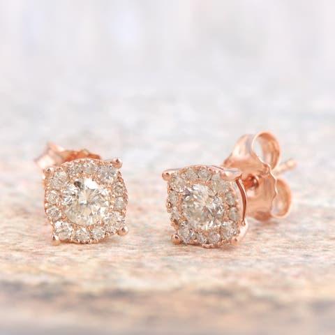De Couer IGI Certified 10k Gold 1/2ct TDW Diamond Halo Earrings