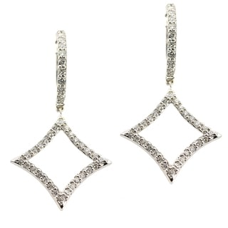 14k White Gold 1/2ct TDW Diamond Hoop Earrings