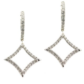 14k White Gold 1/2ct TDW Diamond Hoop Dangle Earrings