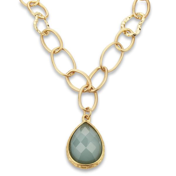 West Coast Jewelry ELYA Designs Goldtone Large Link Green Resin Necklace