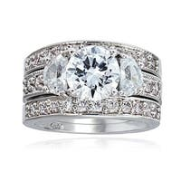 Icz Stonez Rhodiumplated Cubic Zirconia 5ct TGW Bridal Ring Set