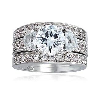 Icz Stonez Rhodiumplated Cubic Zirconia 5ct TGW Bridal Ring Set