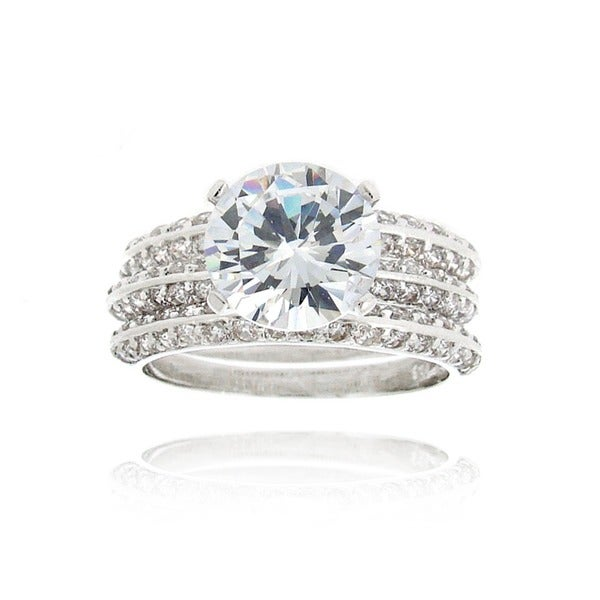 Icz Stonez Rhodiumplated Cubic Zirconia 5 1/2ct TGW Bridal Ring Set