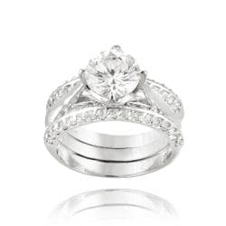 Icz Stonez Rhodiumplated Cubic Zirconia 4 1 10ct TGW Bridal Ring Set