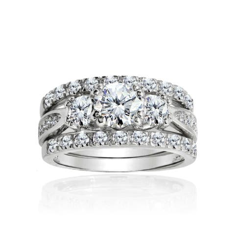 Icz Stonez Cubic Zirconia 4ct TGW Rhodium Plated Bridal Ring Set