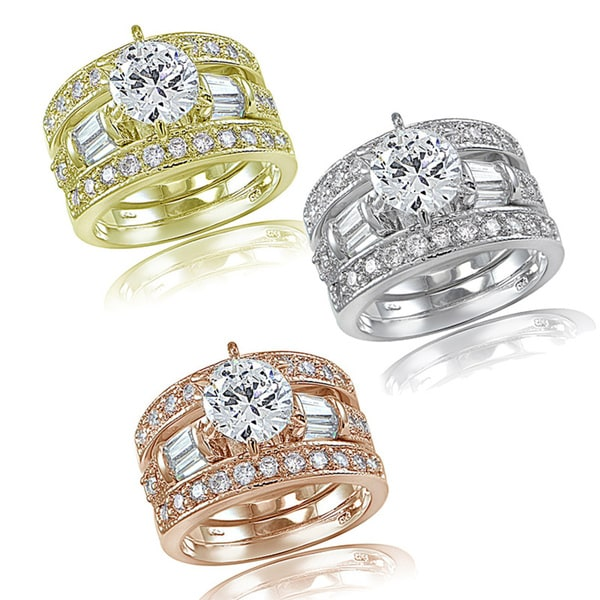 Icz Stonez 3ct TGW Cubic Zirconia Bridal Engagement Ring Set