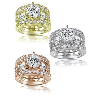 Icz Stonez 3ct TGW Cubic Zirconia Bridal Engagement Ring Set (Option: 5)