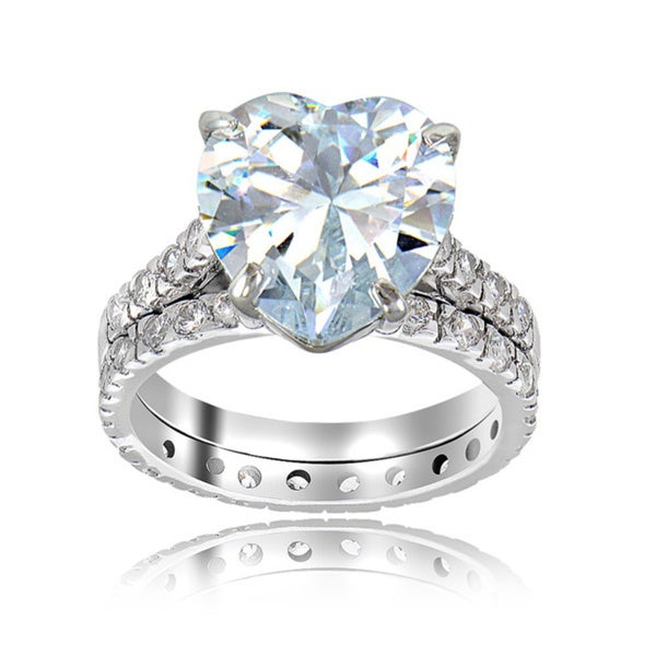 Icz Stonez Sterling Silver Cubic Zirconia 6ct TGW Bridal Ring Set