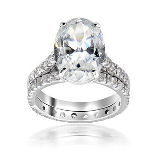 Icz Stonez Sterling Silver Cubic Zirconia 11 3/4ct TGW Bridal Ring Set