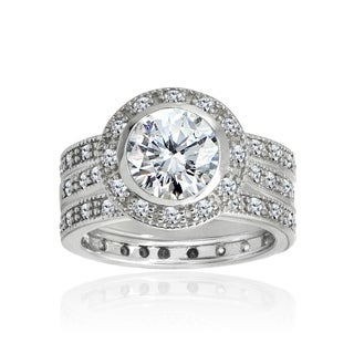 icz stonez sterling silver cubic zirconia 3 15ct tgw bridal ring set - Sports Wedding Rings